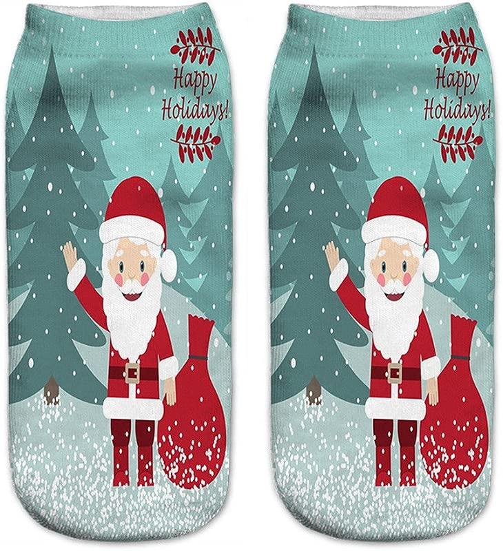 New Cute Socks Annhoo 3D Printed Christmas Women Casual Socks Cute Unisex Low Cut Ankle Socks One Size B