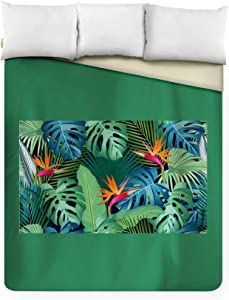 Seamless Pattern of Tropical Leaves with Bird of Paradise on Black Background A-9012148 (88x104 King Microfiber Duvet Cover)