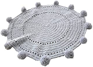 LAGHCAT Pom Pom Playmat Handmade Rugs for Baby in Fun Designs Crochet Blanket Kids' Room Decorate Carpets - Grey, 31.5x31.5inch