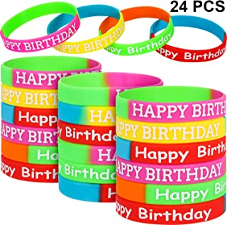 24 Pieces Happy Birthday Rubber Bracelets Colored Silicone Bracelets for Teenagers Birthday Party Favors for Happy Birthday Party Supplies