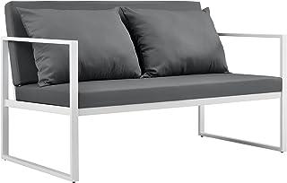 casa.pro] Sofá de jardín 70 x 114 x 60 cm Mueble de jardín para Exterior con cojín Blanco