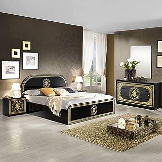 AltoBuy SOLAYA Noire - Chambre avec Lit 160x200cm et Commode