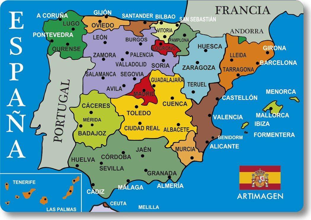 Artimagen Imán Mapa Ciudades España Azul 80x55 mm.: Amazon.es: Hogar