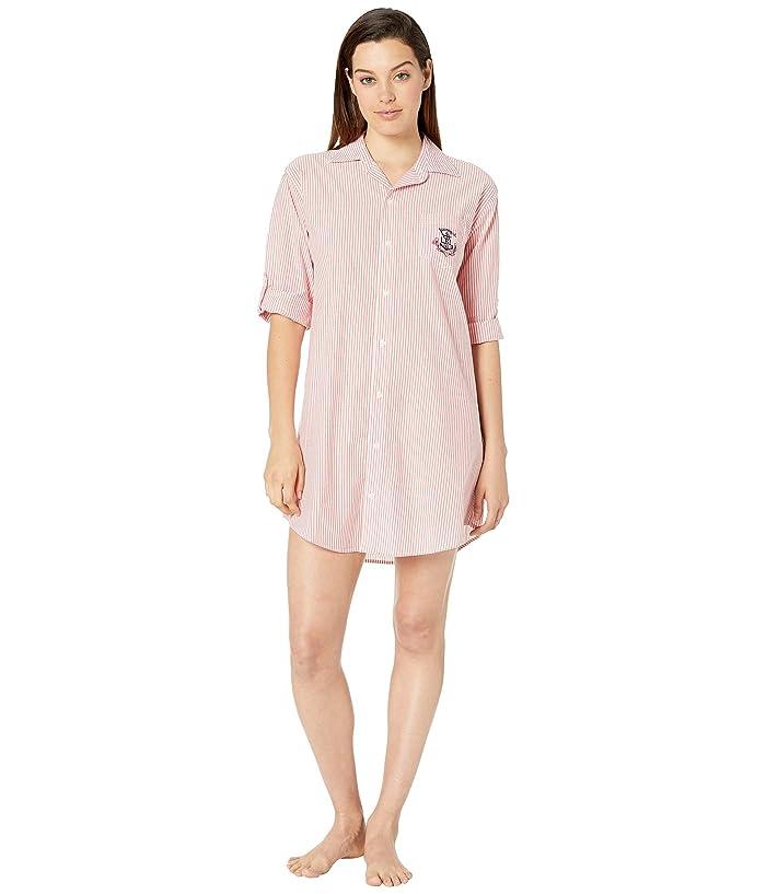 LAUREN Ralph Lauren 3/4 Sleeve Roll Tab Sleeve His Shirt Sleepshirt (Red Stripe) Women
