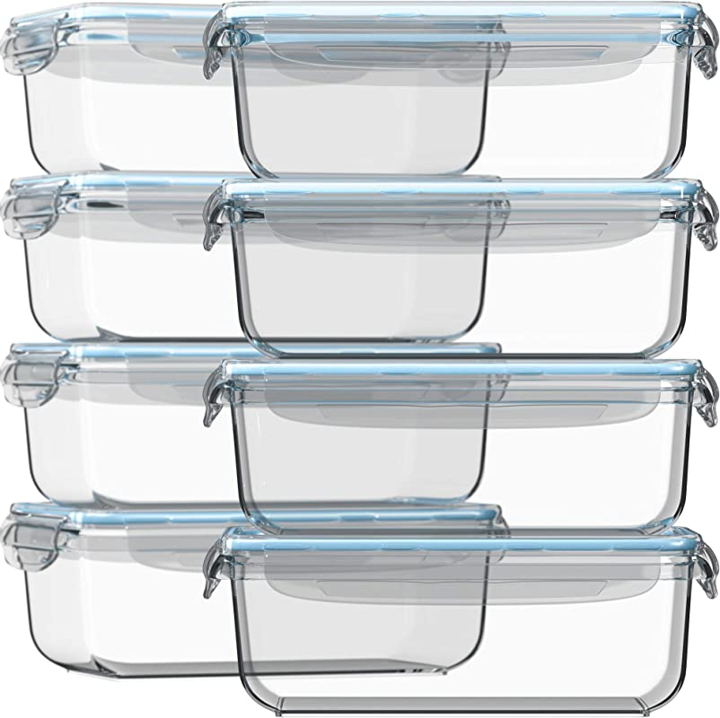 Razab 16 Pc 30 Oz 8 Container Set Glass Food Storage Containers W Airtight Lids FREE 14 Measuring Cups Spoons 12 Value Microwave Oven Freezer Dishwasher Safe BPA PVC Free For Meal Prep