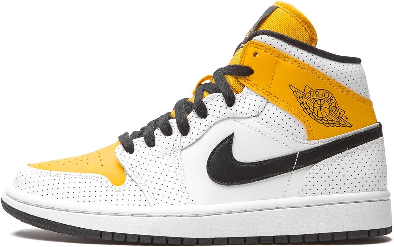 Nike Women's Shoes Air Jordan 1 Mid Perforated White University Gold BQ6472-107