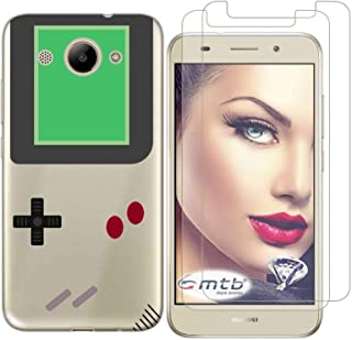 Huawei Y3 2017 Case with 2 Pack Glass Screen Protector Phone Case for Men Women Girls Clear Soft TPU with Protective Bumper Cover Case for Huawei Y3 2017 / Y3III-Game Machine