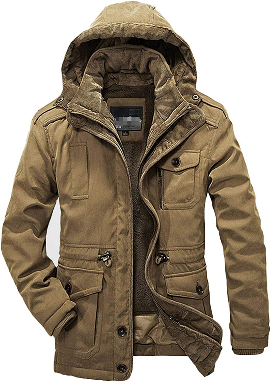 Winter Men Parkas Warm Waterproof Thicken Male Heavy Wool 2 in 1 Coat Fleece Cotton-Padded