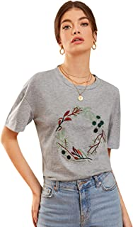 Milumia Women's Summer Short Sleeve Plants Embroidery Casual Shirt Top