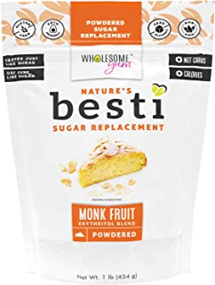 Wholesome Yum Besti 1:1 Natural Powdered Sugar Replacement - Keto Monk Fruit Sweetener With Erythritol (16 oz / 1 lb) - No...
