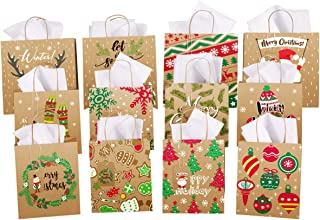 Toyvian 12Pcs Bolsas de papel kraft con asa, Bolsas de regalo de Navidad con etiquetas de regalo y papel de seda, Bolsos para fiesta de Navidad Holiday