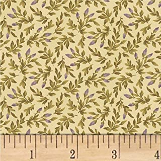 Windham Fabrics Nancy Gere Shiloh C.1880 Floral Buds Fabric, Cream, Fabric By The Yard