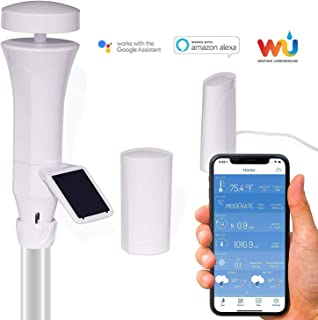 WeatherFlow Smart Home Weather Station with WiFi hub, Wireless telemetry, Lightning alerts, Solar Panel, and Weather Underground Connection.