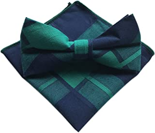 Elfeves Men's Cotton Bow Ties Pocket Square Set Pre-Tied Checks Handmade Necktie