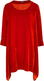 Grizas Women's Silk Blend Velvet Tunic Orange