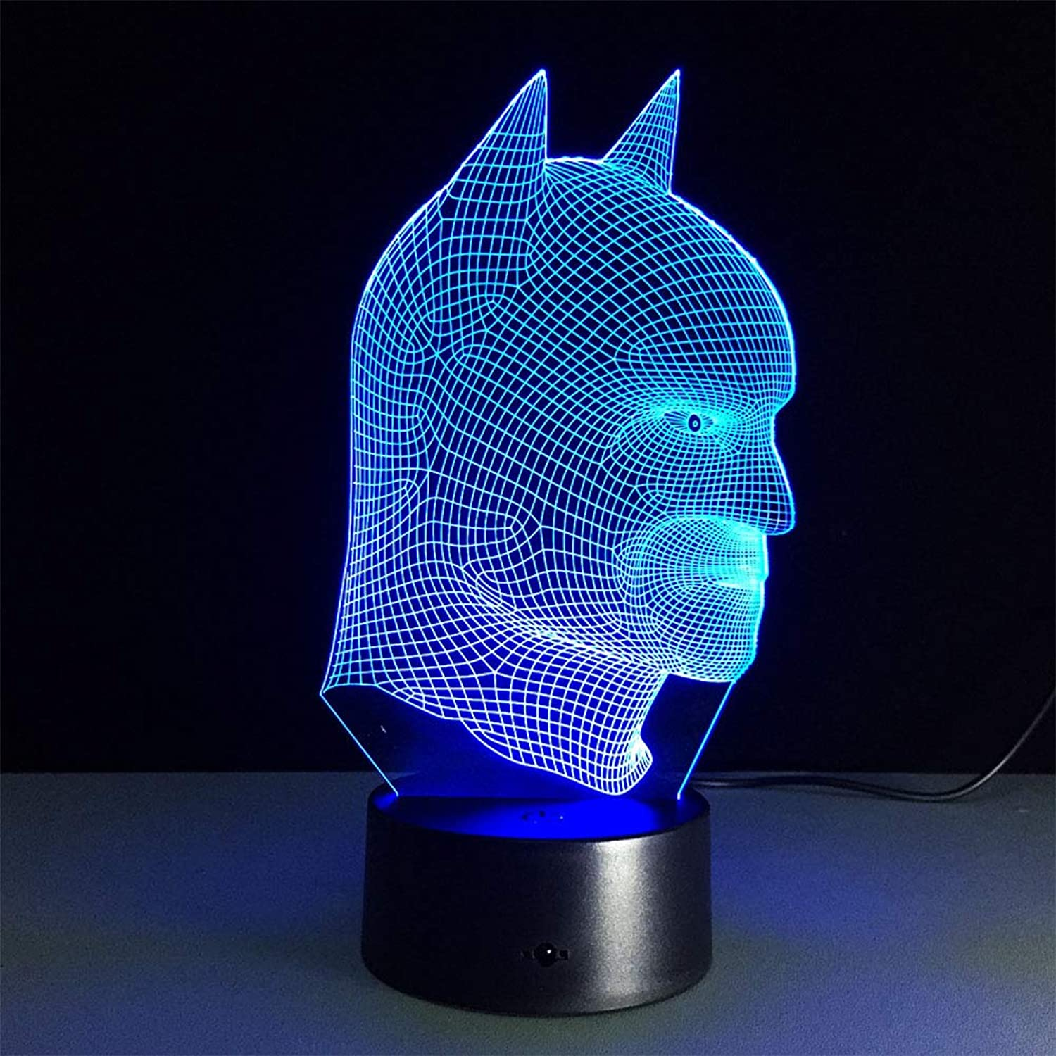 LQT Ltd Batman Superhero Novelty lamp 7 color Changing Visual Illusion LED Light Batman Toy Action Figure Birthday Gift