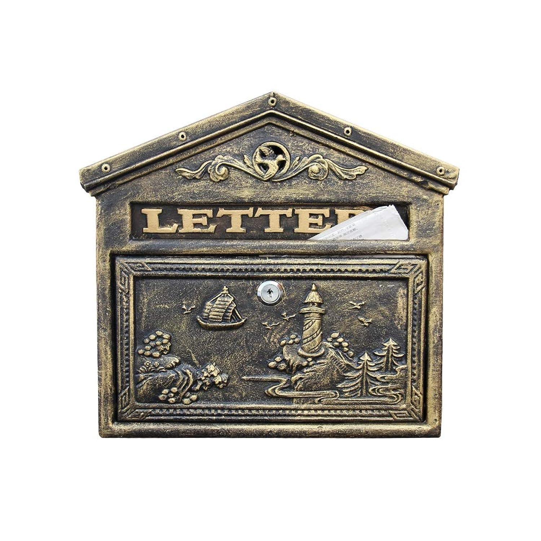 HUA BEI メールボックス 郵便箱 - 鍛造アイアン、クリエイティブアンティークブラシゴールドヨーロッパスタイルのロック半屋外壁のメールボックス郵便箱、ヴィラ、中庭、家庭に適して - 42.5X37.5X8.5cm @@