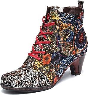 gracosy Kvinnor ankelstövlar läder mellanblock klack Cowgirl booties retro bohemiska varma snöstövlar skor damer utomhus h...