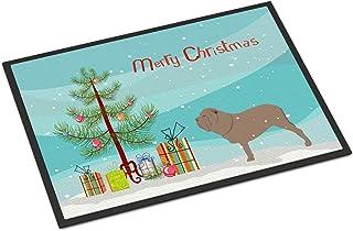 "Caroline's Treasures Neapolitan Mastiff Merry Christmas Tree Indoor or Outdoor Mat 18x27 BB2983MAT 18"" x 27"" Multicolor"