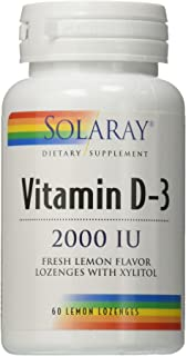 Solaray D3 Lemon 2,000 LU Lozenges, 60 Count