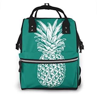 SKULL PINEAPPLE Baby Diaper Bag, Multifunction Waterproof Travel Backpack Nappy Tote Bags For Mom & Dad, Large Capacity
