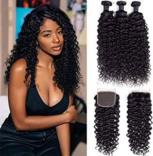 9A Brazilian Virgin Curly Wave Human Hair 3 Bundles with Lace Closure Free Part 100% Unprocessed Brazilian Jerry Curly Hair Weave Bundles with 4x4 Lace Closure Natural Black Color (10