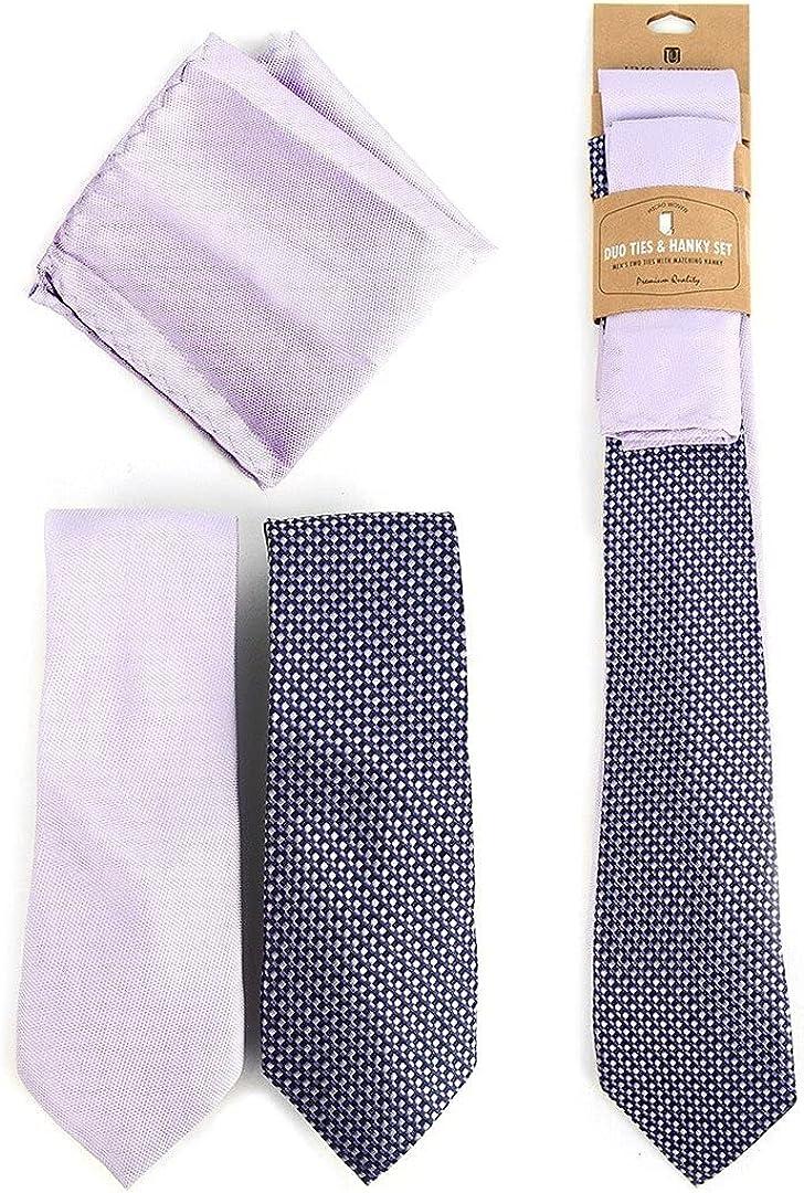 Lavender 2 Tie + 1 Hanky Set