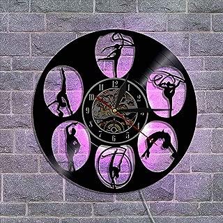 常夜灯リモコンビニールレコード壁掛け時計 クリエイティブウォールデコレーションギフト 30cm,C
