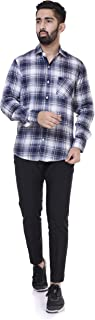 6TH AVENUE STREETWEAR Men's Checkered Slim Fit Casual Shirt - White
