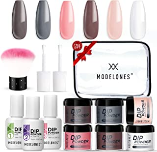 Dipping Powder Starter Nail Kit Modelones Peachy Nails for Fall 6 Colors- Manicure Nail Art Set Essential Kit for Travelli...