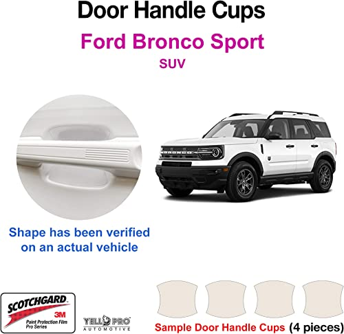 high quality YelloPro Custom Fit Door new arrival Handle Cup for outlet sale 2021 2022 Ford Bronco Sport SUV, 3M Scotchgard Anti Scratch Clear Bra Paint Protector Film Cover Self Healing PPF Guard Kit sale