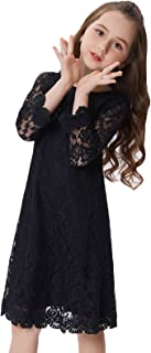 GRACE KARIN Girls Shift Flower Lace Dresses with Sleeves