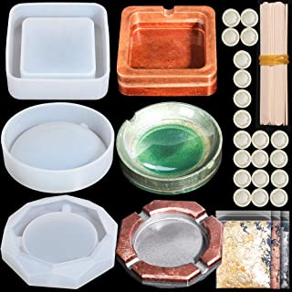LEOBRO 3 Pack Ashtray Resin Molds with 3 Pack Shinny Foil Flakes, 20 Pcs Wood Mixing Sticks, and 20 Pcs Finger Cots, Silicone Molds for DIY Ashtray Making