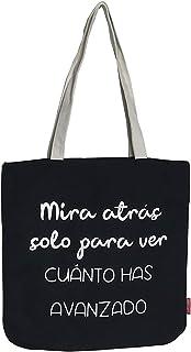 Hello-Bags. Bolso Tote. Algodón 100%. Modelo MIRAATRAS. Negro. con Cremallera, Forro y Bolsillo Interior. 37 * 38 cm. Incl...