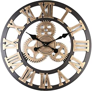 3d ساعة الحائط الكبيرة الكلاسيكية خمر ضئيلة صامتة والعتاد الرجعية ساعة شنقا الأرقام الرومانية الأطباء هوريكس