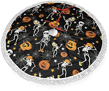 Sdan0123shuls Halloween Skeletons and Pumpkins 30 36 48 Inch Tassel Christmas Tree Skirt Christmas Decorations Indoor Outdoor,Xmas Party Holiday Ornaments,New Year Party