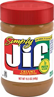 Simply Jif Creamy Peanut Butter, 15.5 oz. – 7g (7% DV)  of Protein per Serving and 33% Less Sugar Than Regular Jif Peanut Butter - Smooth, Creamy Texture – No Stir Peanut Butter