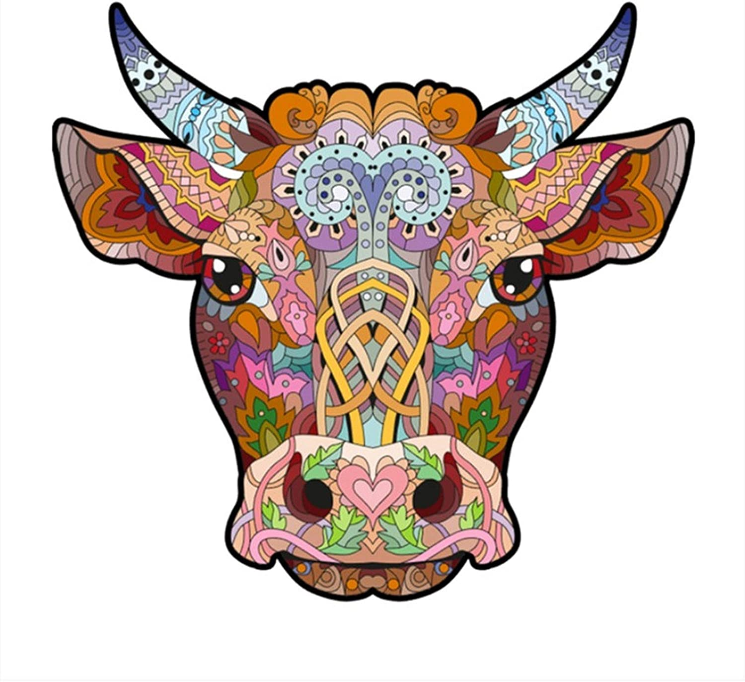 Topics on TV Limited time cheap sale Unique Shape Wooden Jigsaw Puzzle Animal 3D Cow's Pu Head