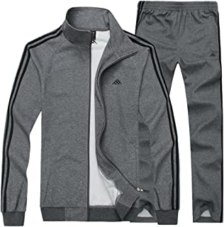 Luckyoung Men's Classic Striped Big Size Jogging Tracksuit Casual Zip Sweat Suit