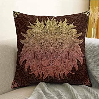 Antony Petty Safari Bedding Soft Pillowcase Patterned Ornate Lion Head with Digital Featuring Totem Asian Zoo Wild Bohemian Hypoallergenic Pillowcase W18 x L18 Inch Yellow Maroon