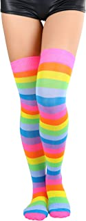 Women's Nylon Over The Rainbow Multicolor Opaque Thigh Highs