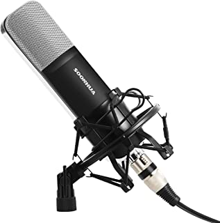 Professional Condenser Microphone, SOONHUA Music Studio MIC Podcast Recording Microphone Kit With Stand Shock Mount for PC Laptop Computer Broadcasting YouTube Vlogging Skype Chatting Gaming