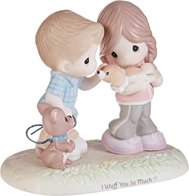 Precious Moments 193011 I Wuff You So Much Couple with Puppies Bisque Porcelain Figurine, One Size, Multicolor