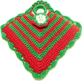 Agarradera verde y rojo de ganchillo para Navidad - Tamaño: 13 cm x 15 cm H - Handmade - ITALY