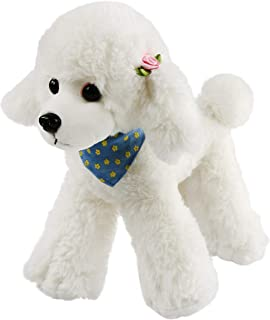 Athoinsu Realistic Stuffed Poodle Adorable Puppy Dog Soft Plush Toys Christmas Holiday Birthday Gift for Toddler Kids, 12''