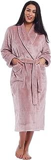 Womens Fleece Long Robe Soft Warm Plush Bathrobe