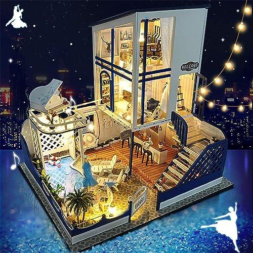 Kinder Spielzeug, Kreative handgemachte Modell mediterrane romantische Valentinstag Miniatur 3d Gew shaus Craft Kits für Erwachsene - Holzpuppen Haus mit M ln und Zubeh  Lernspielzeug für M he