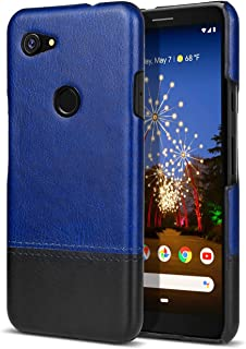 iMangoo PU Leather Coating Google Pixel 3a Case Dual Colors Hybrid Slim Fit Back Cover Shockproof Case Pixel 3 A Protective Shell Comfortable Grip Phone Case for Google Pixel 3a Black/Navy Blue