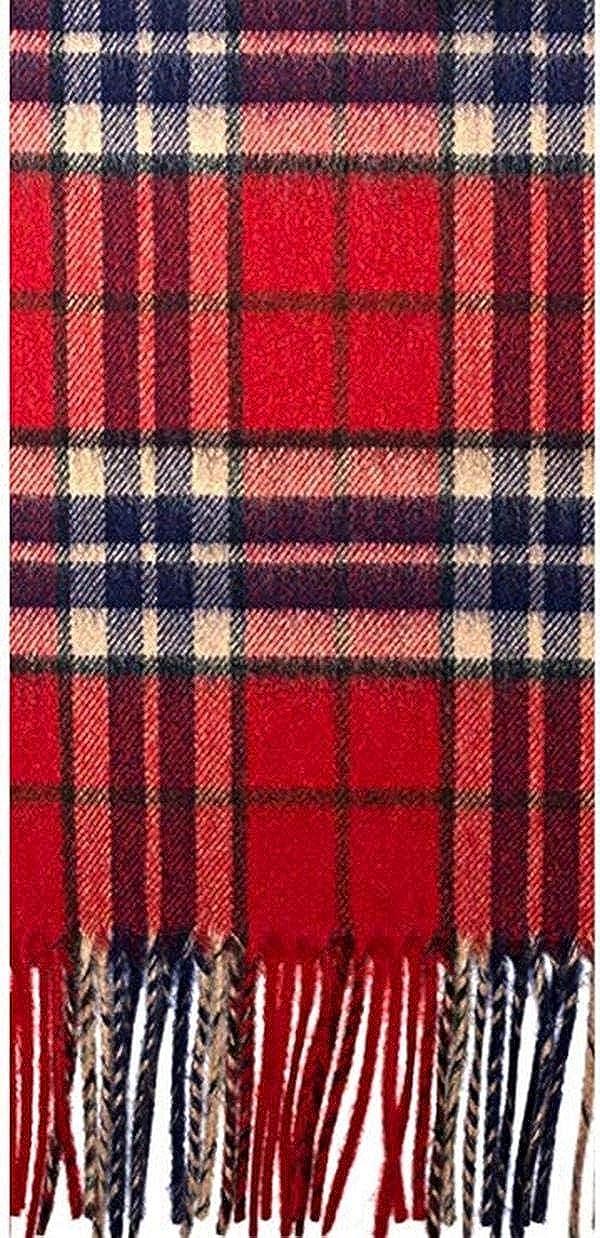 Luxury Scottish Soft Cashmere Scarf with Fringes Thomson Red Antique Tartan
