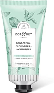 Dot & Key Foot Cream : Deodorizer + Moisturizer (Lavender & Peppermint) 50ml, foot deodorant plus foot cream for dry cracked feet - Paraben Free